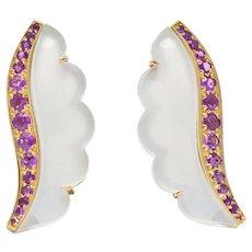 Van Cleef & Arpels 1.05 CTW Pink Sapphire Rock Crystal Mother Of Pearl 18 Karat Gold Ear-Clips Earrings