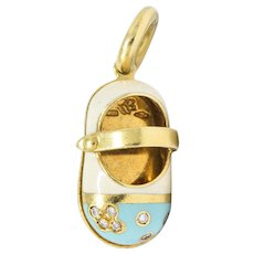 Aaron Basha Diamond 18 Karat Gold Enamel Strap Shoe Charm