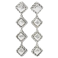 John Hardy Linear Dangle Chain Link Sterling Silver Earrings