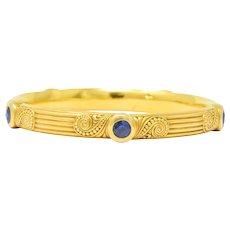 Riker Bros. Art Nouveau 4.00 CTW Sapphire 14 Karat Gold Bangle Bracelet