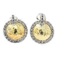 John Hardy 22 Karat Gold Sterling Silver Classic Chain and Disc Earrings