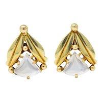 Art Nouveau Moonstone 14 Karat Gold Ear-Clips Earrings