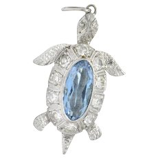 Art Deco 0.66 CTW Aquamarine Diamond Platinum Turtle Charm