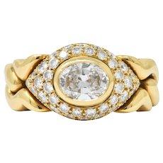 Bulgari 1.55 CTW Diamond 18 Karat Gold Alveare Ring CA 1980