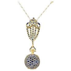 Tiffany & Co. Arts & Crafts 8.00 CTW Sapphire Enamel 18 Karat Gold Watch Pendant Necklace Circa 1900