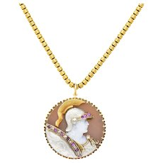 Victorian Hardstone Diamond Ruby 14 Karat 18 Karat Platinum Cameo Pendant Necklace