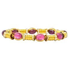 Bulgari 1970's 3.40 CTW Diamond Pink Tourmaline 18 Karat Gold Bracelet