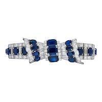 Retro 27.50 CTW Sapphire Diamond Platinum Bow Bracelet