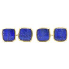 Art Nouveau Lapis Lazuli 14 Karat Gold Cufflinks