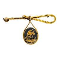 Victorian 14 Karat Gold and Mixed Metal Heron Bamboo Brooch
