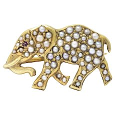 Victorian Seed Pearl Ruby 14 Karat Gold Elephant Pin