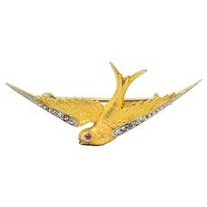 Victorian Diamond Ruby Platinum 14 Karat Gold Swallow Brooch