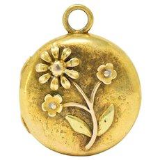Floral Art Nouveau 14 Karat Tri-Color Gold Flower Locket Pendant