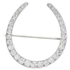 1930's Art Deco 5.15 CTW Large Diamond Platinum Horseshoe Brooch