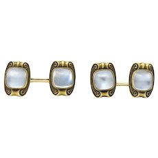 Art Nouveau Moonstone 14 Karat Gold Cufflinks