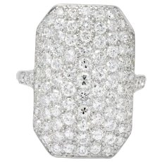 Spectacular Retro 3.74 CTW Diamond Platinum Ring