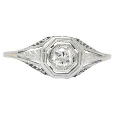 1920's 0.18 CTW Diamond 18 Karat White Gold Engagement Ring