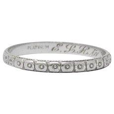 1920's Art Deco Platinum Floral Orange Blossom Wedding Band Ring
