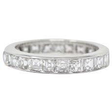 Mid-Century Retro 4.14 CTW Asscher Cut Diamond Platinum Eternity Band Stackable Ring