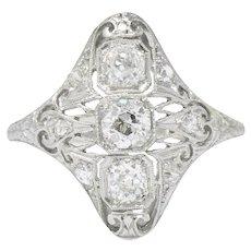 Art Deco 0.93 CTW Old European Cut Diamond Platinum Dinner Ring
