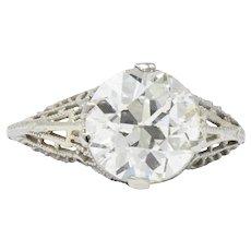 Art Deco 3.00 CTS Old European Cut Diamond 14 Karat White Gold Engagement Ring