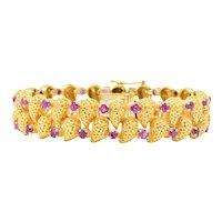Tiffany & Co. 4.56 CTW Ruby 18 Karat Gold Textured Link Bracelet