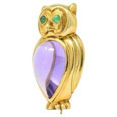 Tiffany & Co. Contemporary Amethyst Emerald 18 Karat Gold Brooch