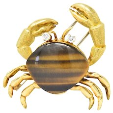 Tiffany & Co. Diamond Tigers Eye 18 Karat Gold Crab Brooch Clip