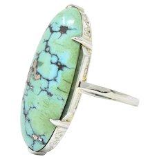 French Art Deco Turquoise 18 Karat White Gold Ring