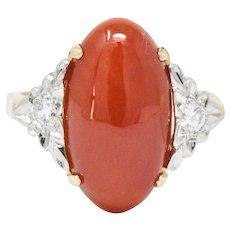 1940's Ox Blood Red Coral Diamond 14 Karat Gold Ring