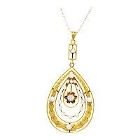 Art Nouveau Diamond Seed Pearl 14 Karat Gold Pendant Necklace