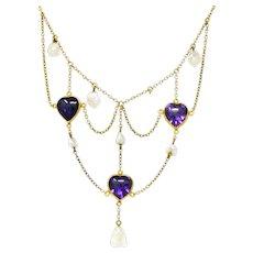 Victorian Amethyst Pearl 14 Karat Gold Swag Necklace