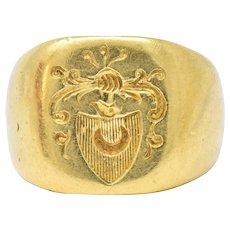 Victorian 18 Karat Gold Unisex Signet Ring