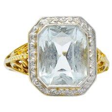 Edwardian 3.00 CTW Aquamarine Platinum-Topped 14 Karat Gold Ring