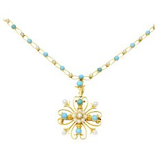 Victorian Diamond Seed Pearl Turquoise 18 Karat Gold Brooch Pendant Necklace