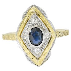 Edwardian 0.50 CTW Sapphire Diamond Platinum-Topped 18 Karat Gold Ring