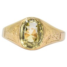 Victorian 4.25 CTW Yellow Sapphire 18 Karat Rose Gold Ring