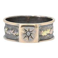 Victorian Diamond Two-Tone 9 Karat Gold Starburst Band Ring