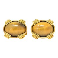 Contemporary Tiger's Eye 18 Karat Gold Men's Cufflinks