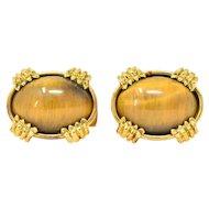 Contemporary Tiger's Eye 18 Karat Gold Men's Cufflinks