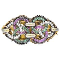 Victorian 2.60 CTW Diamond Ruby Emerald Silver 18 Karat Gold Brooch