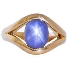 Men's Vintage 6.00 CTW Star Sapphire 18 Karat Gold Ring