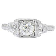 Art Deco 0.53 CTW Diamond 18 Karat White Gold Engagement Ring