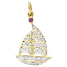 Modern 1980's 0.50 CTW Diamond Ruby 18 Karat Gold Sailboat Charm