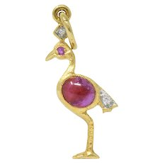 Contemporary 1980's Ruby Diamond 18 Karat Gold Charm