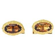 Vintage Citrine 18 Karat Yellow Gold Cufflinks