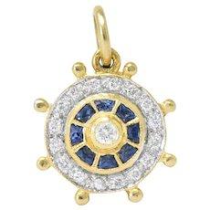 Modern 1980's 0.30 CTW Diamond Sapphire 18 Karat Gold Ship's Wheel Charm