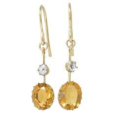 Victorian 2.45 CTW Citrine Diamond 14 Karat Gold Drop Earrings