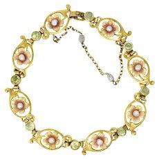 Krementz Art Nouveau 2.08 CTW Peridot Seed Pearl Enamel Bracelet
