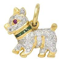 Circa 1980's Vintage 0.55 CTW Diamond Emerald Ruby 18 Karat Gold Scottie Terrier Charm